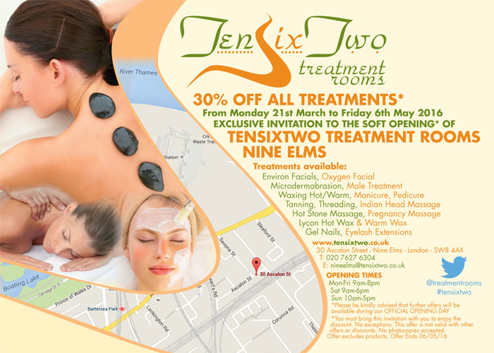 30% off at the new NineElms Treatment Rooms - bring a copy of the leaflet